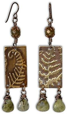 Fern Dangle Earrings made with Labradorite and Vintaj blanks embossed with the BigKick by Sizzix.