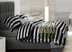 Minimalist Black And White Striped Soft Cotton Bedding Sets