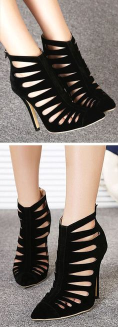 Cage Cutout Stiletto Booties