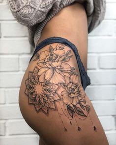 50 of the Most Beautiful Mandala Tattoo Designs for Your Body & Soul - Tattoo ideen - Tatouage Flower Hip Tattoos, Hip Thigh Tattoos, Floral Thigh Tattoos, Hip Tattoos Women, Tattoo Hip, Tattoo Women, Tattoos On Thighs, Henna Thigh Tattoo, Side Thigh Tattoos Women