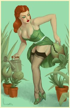 Cool Art: 'Poison Ivy' Retro Pinup by Devin Lawson