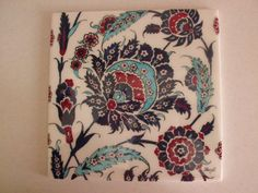 cm ceramic tile handmade by Meral - faqen time Turkish Art, Turkish Tiles, Pottery Patterns, Tile Patterns, Pottery Painting, Ceramic Painting, Decorative Wall Tiles, Pottery Teapots, Antique Tiles