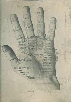 Hidden Treasure 151C_Silhouettes3. Dental Hand Silhouette Gift Album by W. H. Whitslar (Cleveland, Ohio, ca. 1908). Album of gelatin silver photographs, including this palmistry diagram.