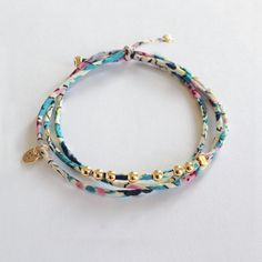 Liberty and gold plated beads. Handmade in France. www.ticha.bigcartel.com