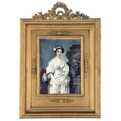 Antique Circa 1910 Framed French Lady Portrait Watercolor & Gouache Signed