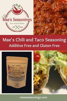 Mae's Chili & Taco Seasoning is great on Mexican inspired dish. This Chili Taco blend of spices includes chilies, garlic and cayenne to name a few. Also has a hint of brown sugar, cocoa, salt and pepper. It doesn't taste like chocolate; the cocoa just adds incredible dimension to your meals. Mae's Chili Taco Seasoning brings robust flavours to your meals. Choose Mae's Chili Taco spice combination that is made with no artificial preservatives or additives. Taco Spice, Spice Combinations, Natural Spice, Chili Seasoning, Professional Chef, Spice Blends, Enchiladas, Mexican Food Recipes, Tacos