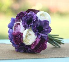 Bride Bouquet Cream Ivory Deep Purple Violet Lavender Vintage Antique Roses & Ranunculus Rustic Chic Weddings By Morgann Hill. $79.99, via Etsy.