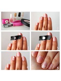 Perfect shapes--Paint your nails with a color of your choice. Punch out shapes in masking or painter's tape using a hole puncher (you can find hole punchers with fun shapes at CVS or the Dollar Store). Make sure your manicure is dry and then attach tape firmly and apply a different colored polish. Peel off tape gently and slowly. Once it is dry apply a top coat. Manicure courtesy of Gisely at Sellz Cute Things.   =