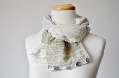 Button Up Scarf  Snow Child  Hand Woven Rustic Scarf by awkward