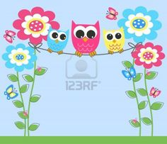 colorful owls Stock Photo