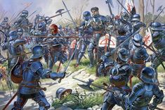 """epicus: """" Cavalry of the Middle Ages. From top to bottom: 1. French heavy knights, 14th century. 2. Knights of Burgundy, 15th century. 3. Livonian Brothers of the Sword, 13th century. 4. German Knights, 15th century. 5. French Knights, 15th..."""