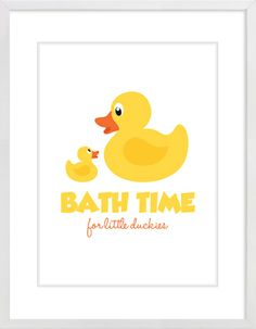 """Bathtime For Little Duckies"" Nursery Wall Print to brighten up your kid's room. Artwork prices start at $7.00. #nurserywallprints #ducks #bathtime"