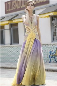 Long Chiffon Dress Yellow Purple Evening Gown Pleated Gowns Dresses
