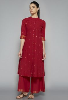 Utsa by Westside Red Solid Palazzo Salwar Designs, Kurti Neck Designs, Blouse Designs, Ethnic Outfits, Indian Outfits, Indian Attire, Indian Wear, Indian Designer Outfits, Designer Dresses