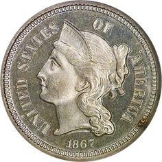 Three Cent Nickels - 1867 3CN PF