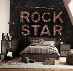 Create a musical environment within your home. One way is to create a music bedroom theme. You can create a music bedroom theme by adding a few touches. Bedroom Themes, Girls Bedroom, Bedroom Decor, Bedroom Ideas, Rock Bedroom, Teen Bedrooms, Boy Rooms, Boys Star Bedroom, Teen Music Bedroom