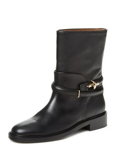 BALENCIAGA ANKLE STRAP LEATHER LOW BOOT