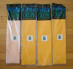 "Lot of 4 Crepe Paper Folds 20"" x 7.5 ft. 3 Gold 1 Apricot NIP Crafts Party Decor #TheCindusCollection #Anyoccassion"