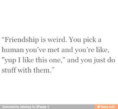 Friendship. Yup, I like this one.