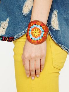 embroidered leather cuff