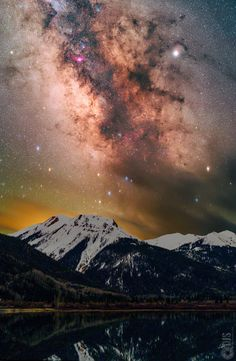 Using a device called a star tracker, I was able to take a picture of the Milky Way and corresponding landscape in Colorado to bring out extreme detail in both the stars and foreground alike! Pink Mountains, Planetary Science, Great Pictures, Amazing Photos, Milky Way, Landscape Photographers, Ciel, Pacific Northwest, Nature Photos