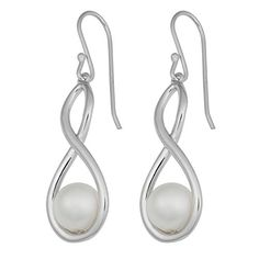 Sterling Silver Stylish Simulated Pearl Infinity Dangle Earrings ** Click image for more details.