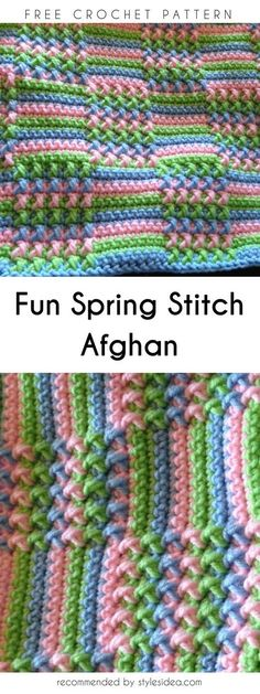 Fun Spring Stitch for Afghan Free Pattern #freecrochetPatterns #afghan #freecrochetPatternsforafghan #freecrochetPatternsforblanket #crochetstitch #crochet #crochetfreepatternsforhome
