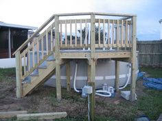 Deck up to INTEX pool provides place to hide pumps and filters. Above Ground Pool Stairs, Pool Deck Plans, Hidden Pool, Outside Pool, Pool Ladder, Free Pool, Pool Steps, Backyard Pool Landscaping, Landscaping Ideas
