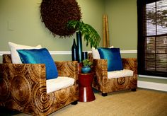In the Business with zen spa did it right with beautiful abaca armchairs and turquoise decor from Wingback Chair, Zen, Accent Chairs, Design Styles, Nature Inspired, Armchairs, Fashion Design, Inspiration, Furniture