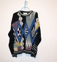 Vintage Sweater Big Bang Geometric by ChristmasVintage on Etsy Vintage Trends, Vintage Sweaters, Bigbang, Bangs, Hipster, Graphic Sweatshirt, Guys, Sweatshirts, Hipsters