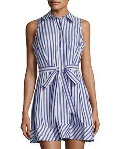 Milly Sleeveless Striped Cotton Shirtdress. Cotton Shirt DressLast  CallNeiman MarcusStripes ... 8f61a7b3ed5af
