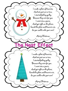 The Nest Effect: Neighbor Christmas Gift Idea: Brownie Mix & Plate {Free Printable}
