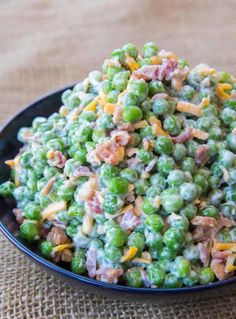 Creamy Bacon Pea Salad with mayonnaise, bacon, cheddar cheese and crunch peas. The perfect southern summer side dish! Creamy Bacon Pea Salad with mayonnaise, bacon, cheddar cheese and crunch peas. The perfect southern summer side dish! Sea Food Salad Recipes, Pea Recipes, Side Dish Recipes, Vegetable Recipes, Cooking Recipes, Vegetable Salad, Kitchen Recipes, Dinner Recipes, Veggie Dishes