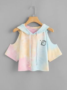 ROMWE Open Shoulder Water Color Hooded Tee Shirt 2018 Multicolor Sleeve Tie Dye Women Top Drawsting Casual Crop T Shirt - Women's style: Patterns of sustainability Teen Fashion Outfits, Outfits For Teens, Girl Outfits, Casual Outfits, Casual Shirts, Lazy Outfits, Shirts For Teens, Kawaii Fashion, Cute Fashion