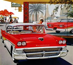 Plan59 :: Classic Car Art :: 1958 Ford. Ford of Bangkok 1958? Note the pedicabs in the background but our girl is buying a gigantic new Ford. Very strange fantasy scenario.