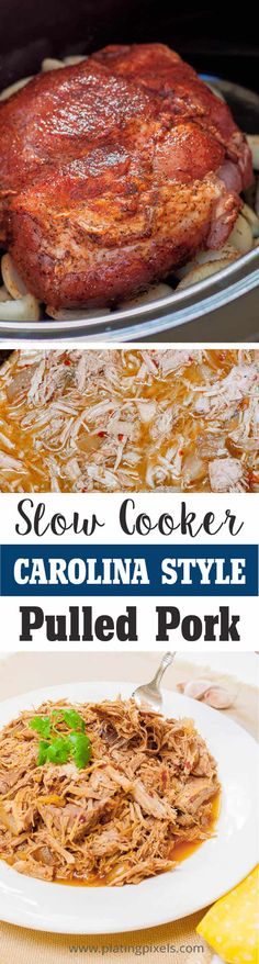 Easy Carolina Style Slow Cooker Pulled Pork by Plating Pixels. Rich spices and tangy broth make this pulled pork recipe fork tender in a slow cooker. Tender flaky pulled pork - www. Crock Pot Recipes, Slow Cooker Recipes, Cooking Recipes, Potato Recipes, Casserole Recipes, Pasta Recipes, Soup Recipes, Chicken Recipes, Recipies