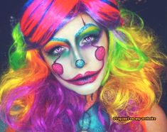 "Rainbow Pennywise 🎈🌈 I wanted to revamp an old look of mine, but then more than half of you voted yes to yet another ""it"" tutorial. Since there are a TON of . Creepy Clown Makeup, Circus Makeup, Scary Clowns, Amazing Halloween Makeup, Halloween Make Up, Halloween Face Makeup, Halloween 2018, Crazy Costumes, Couple Halloween Costumes"