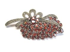 Garnet Marcasite Bouquet Brooch Vintage 925 Sterling Statement Pin - pinned by pin4etsy.com