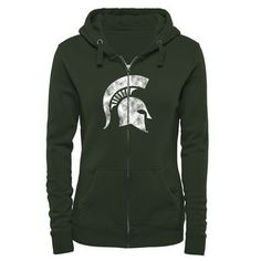 Michigan State Spartans Women's Classic Primary Logo Full Zip Hoodie - Green