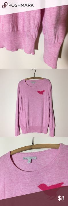 Old Navy XL pink sweater with birdie! 🎀 Cute crew neck sweater with bird. 22 inches across, 27 inches long. No piling. Old Navy Sweaters Crew & Scoop Necks
