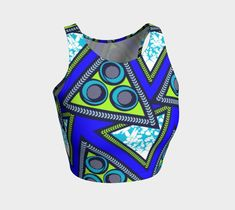 African print athletic crop top Rlw2704 | Etsy Athletic Crop Top, Dance Routines, Yoga Capris, African Wear, Sports Leggings, Knitted Fabric, Stretch Fabric, Crop Tops, Knitting