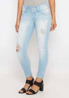 image of Better Butt Light Blue Destroyed Skinny Jean