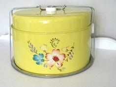 Vintage Metal Cake Carrier Pie Box -  Retro Yellow with Pastel Flowers - 1950 -Nehiandzotz. $45.00, via Etsy.