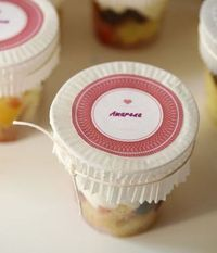 Cupcake liners as jar toppers with printable labels