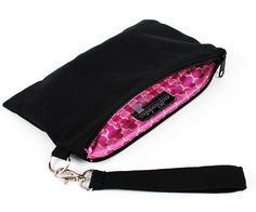 Large Wristlet Wallet Clutch, Black Linen with Pink Lining, plus Credit Card slots