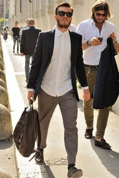 black/sunglasses #MensFashion #Casual #Men #Fashion #Jacket #Shirt #Lapels #Vents #Trousers #Fabrics #GoodLooking #Urban #Boots #Bag #Glasses #Sunglasses streetstyle men sunglasses beard bag by rachelle