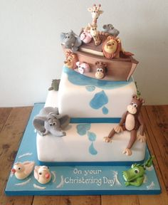 Cakes by Robin create delightful christening cakes including this Noah's Ark christening cake which was a 2 tier creation for a recent christening. Baby Boy Christening Cake, Noahs Ark Cake, Thanksgiving Cakes, London Cake, 1st Birthday Cakes, Baby Shower Cookies, Cakes For Boys, Cute Cakes, Shower Cakes