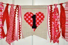 Valentines first birthday highchair rag banner by GiddyGumdrops