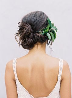 A classic wedding updo, loose side bun, romantic side swept updo