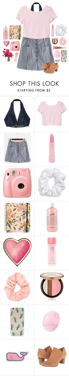 """Blog!!!!"" by pinkrasberry ❤ liked on Polyvore featuring Hollister Co., Monki, Forever 21, Fujifilm, Natasha, Rifle Paper Co, philosophy, Too Faced Cosmetics, Eos and Vineyard Vines"